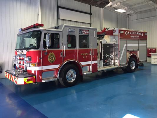 2016 Pierce Enforcer pumper - fire engine - on the blue floor at Pierce
