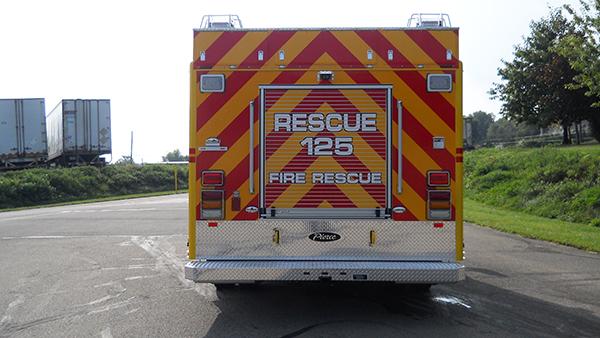 2016 Pierce non-walk-in rescue - mini rescue fire truck - rear