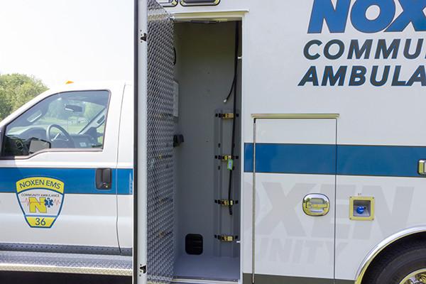2016 Braun Express Plus - Type I ambulance - oxygen storage compartment