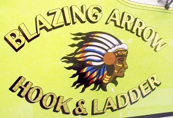 2009 Pierce Velocity - custom pumper fire engine - Blazing Arrow logo