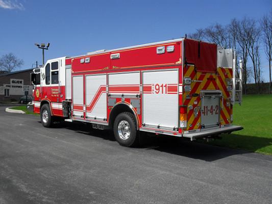 2010 Pierce Quantum PUC pumper - custom fire engine - driver rear