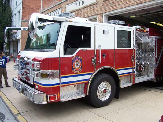 fire engine - Pierce Velocity pumper - driver side cab view