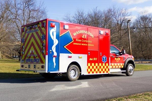 Glick Fire Equipment - Pennsylvania new type I ambulance sales - passenger rear