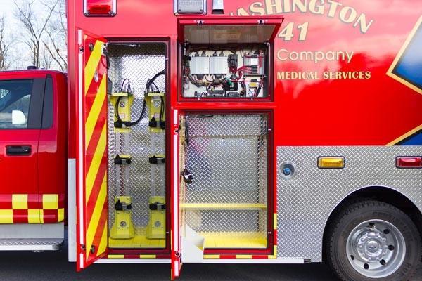 Glick Fire Equipment - Pennsylvania new type I ambulance sales - module exterior compartments