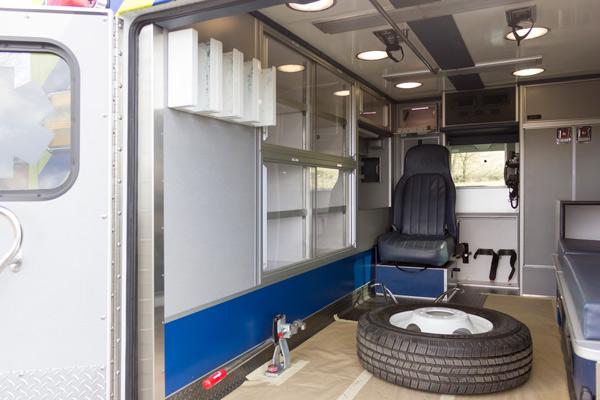ambulance remount sales in PA - Glick Fire Equipment - module interior driver side