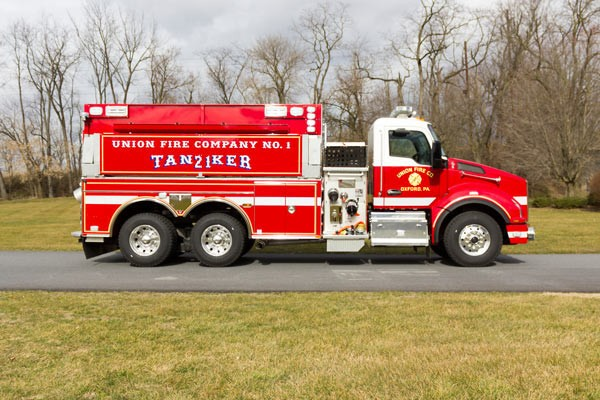 new 2016 Pierce commercial fire tanker sales in PA - Glick Fire Equipment - passenger side