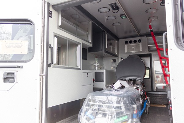 new Braun type 1 ambulance sales in Pennsylvania - patient module interior driver side