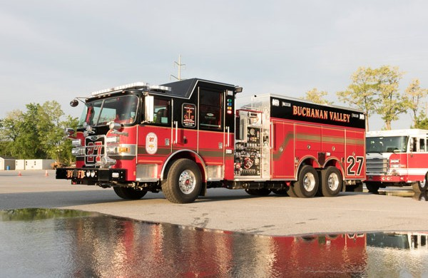 new rescue pumper in PA - 2017 Pierce Arrow XT fire rescue engine - driver front