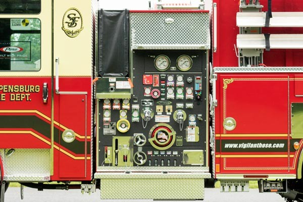 new fire engine sales in PA - 2017 Pierce enforcer pumper - pump panel