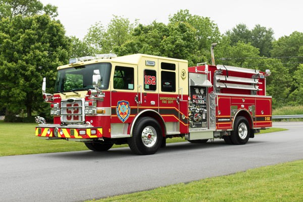new fire engine sales in PA - 2017 Pierce enforcer pumper - driver front
