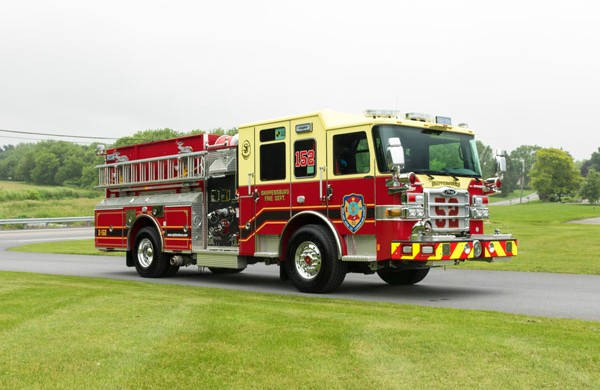 new fire engine sales in PA - 2017 Pierce enforcer pumper - passenger front