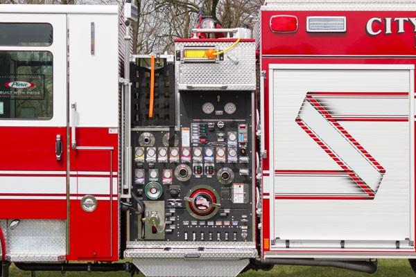 2017 Pierce Enforcer fire engine - pump controls detail