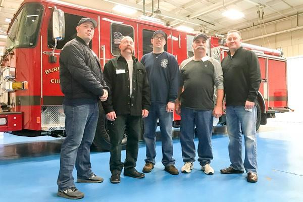 2017 Pierce Enforcer pumper - new fire engine - blue floor at Pierce