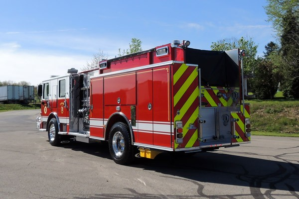 new 2017 Pierce Enforcer pumper - Pennsylvania new fire engine sales - driver rear