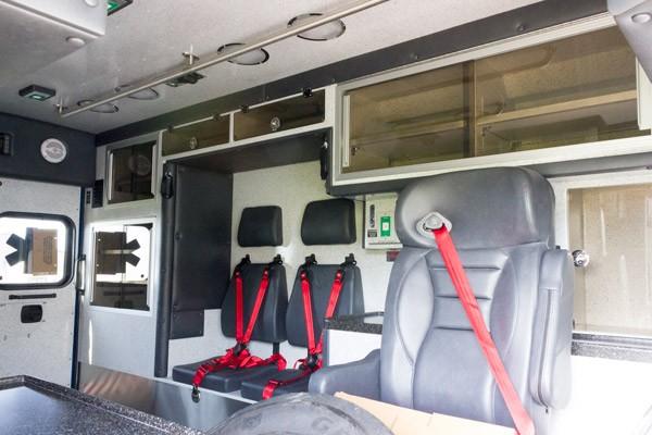 module interior driver side detail view 2016 Braun Chief XL Type III ambulance