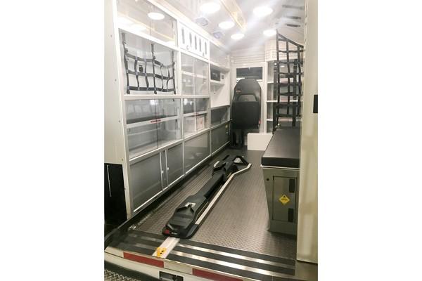 patient module interior view 2017 Demers Transit Type II ambulance