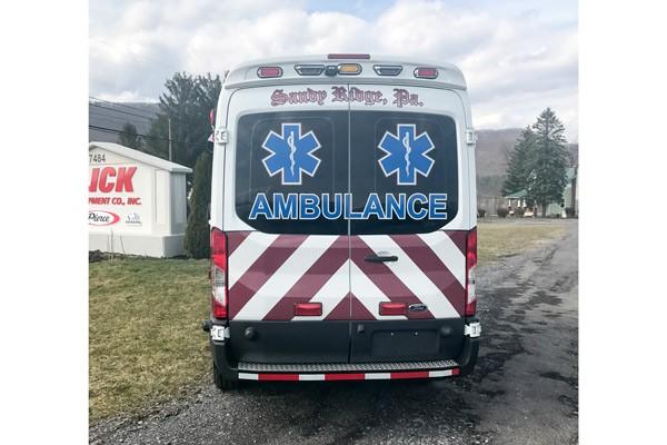 rear view 2017 Demers Transit Type II ambulance