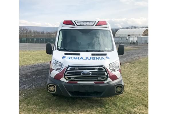 front view 2017 Demers Transit Type II ambulance