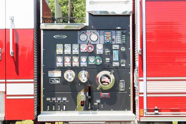 pump control panel detail view of Pierce Arrow XT pumper